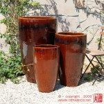 Tall Flared Cone Planters – set of 3 (Dark Brown)