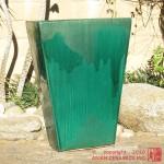 Tall Tapered Rectangular Planter (Jade Green)
